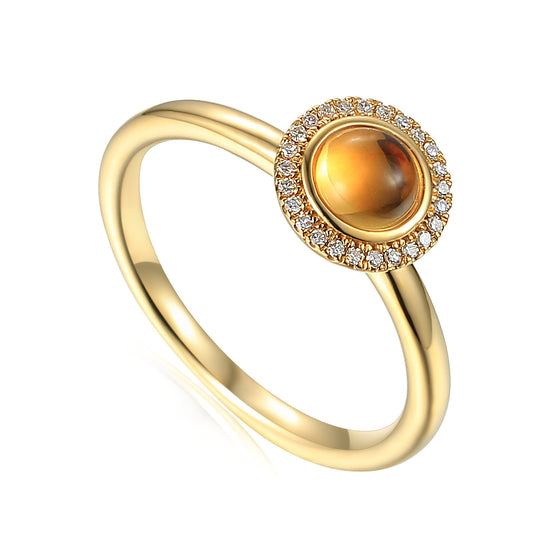 18ct Yellow Gold Cabuchon Citrine and Diamond Ring