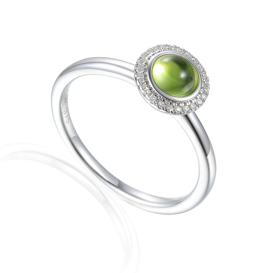 18ct White Gold Cabuchon Peridot and Diamond Ring