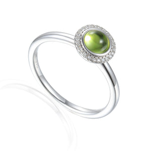 9ct White Gold Cabochon Peridot and Diamond Ring