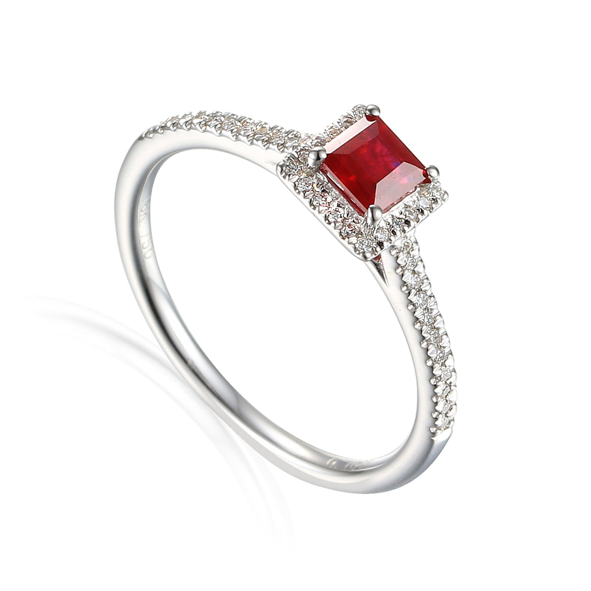Fine Ruby and Diamond Square White Gold Ring