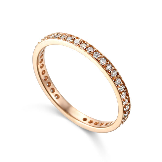 18ct Rose Gold Fine Diamond Full Eternity Band