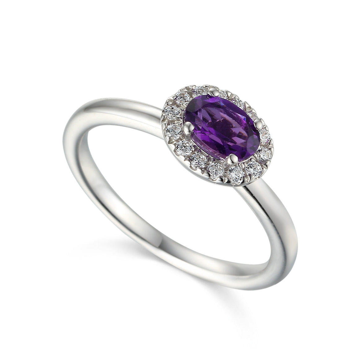 Amethyst and Diamond Cluster 18ct White Gold Ring