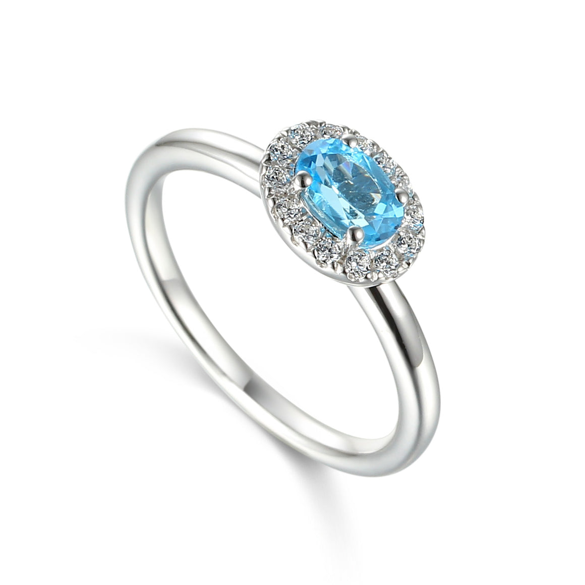 Blue Topaz and Diamond Cluster 18ct White Gold Ring