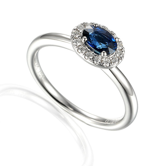 Sapphire and Diamond Cluster 18ct White Gold Ring