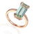 9ct Rose Gold Long Octagon Green Amethyst and Diamond Ring