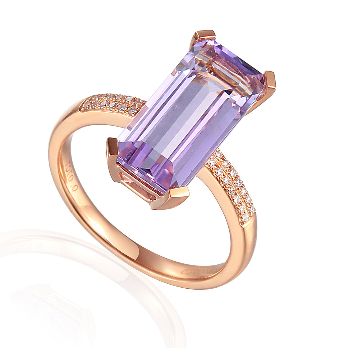9ct Rose Gold Long Octagon Pale Amethyst and Diamond Ring
