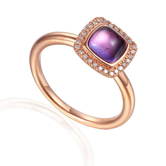 18ct Rose Gold Cabuchon Cushion Amethyst and Diamond Ring