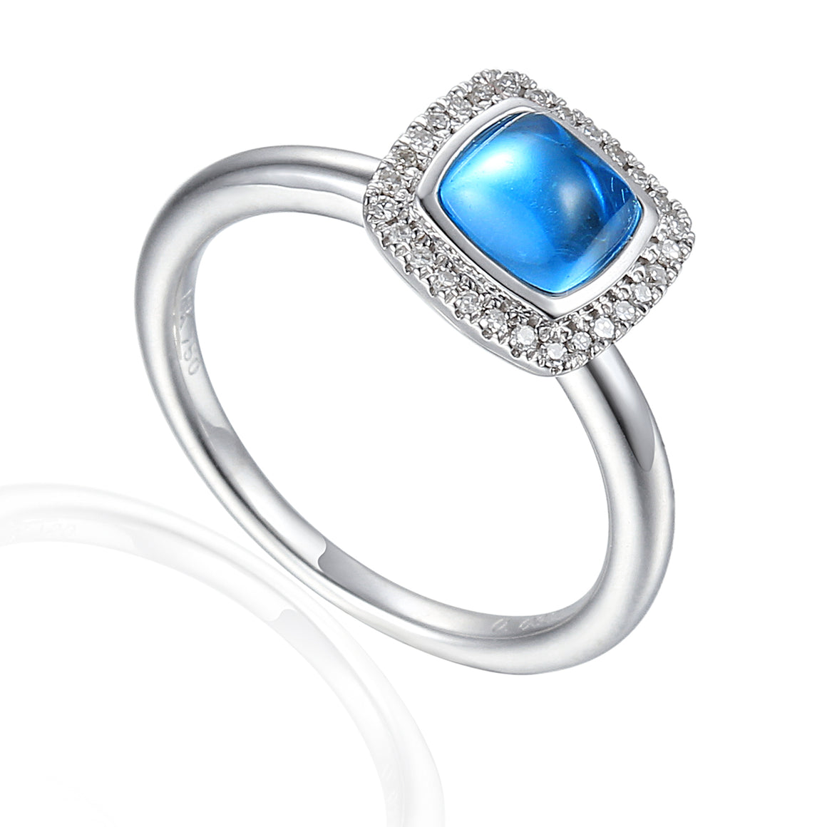 9ct White Gold Cabochon Cushion Blue Topaz and Diamond Ring
