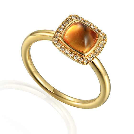 18ct Yellow Gold Cabuchon Cushion Citrine and Diamond Ring