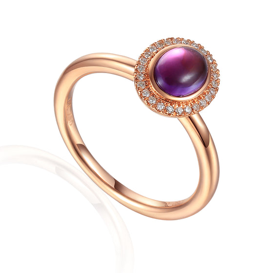 18ct Rose Gold Cabuchon Oval Amethyst and Diamond Ring