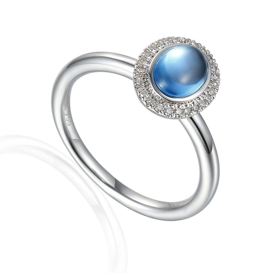18ct White Gold Cabuchon Oval Blue Topaz and Diamond Ring