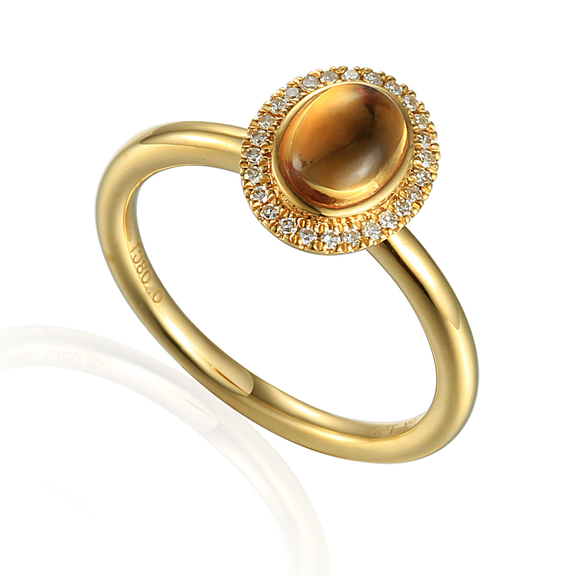 9ct Yellow Gold Cabochon Oval Citrine and Diamond Ring