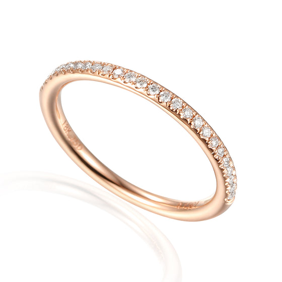 18ct Rose Gold Fine Diamond Domed Full Eternity Band