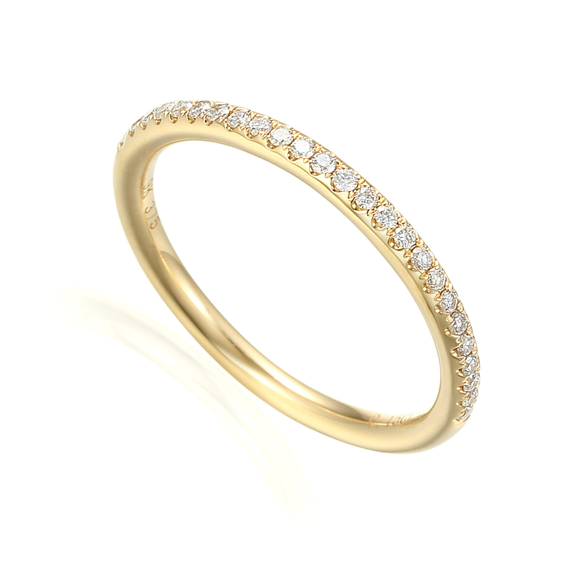 18ct Yellow Gold Fine Diamond Domed Full Eternity Band