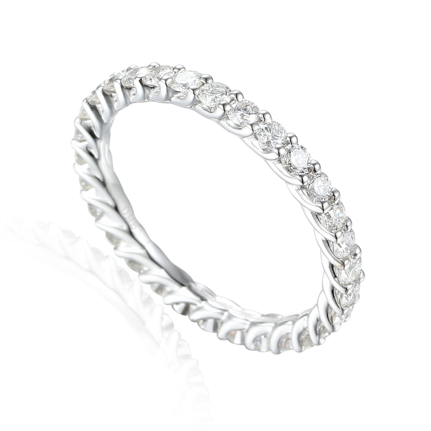 full rose band rings sterling nscd ring wedding bands synthetic circle diamond silver platinum