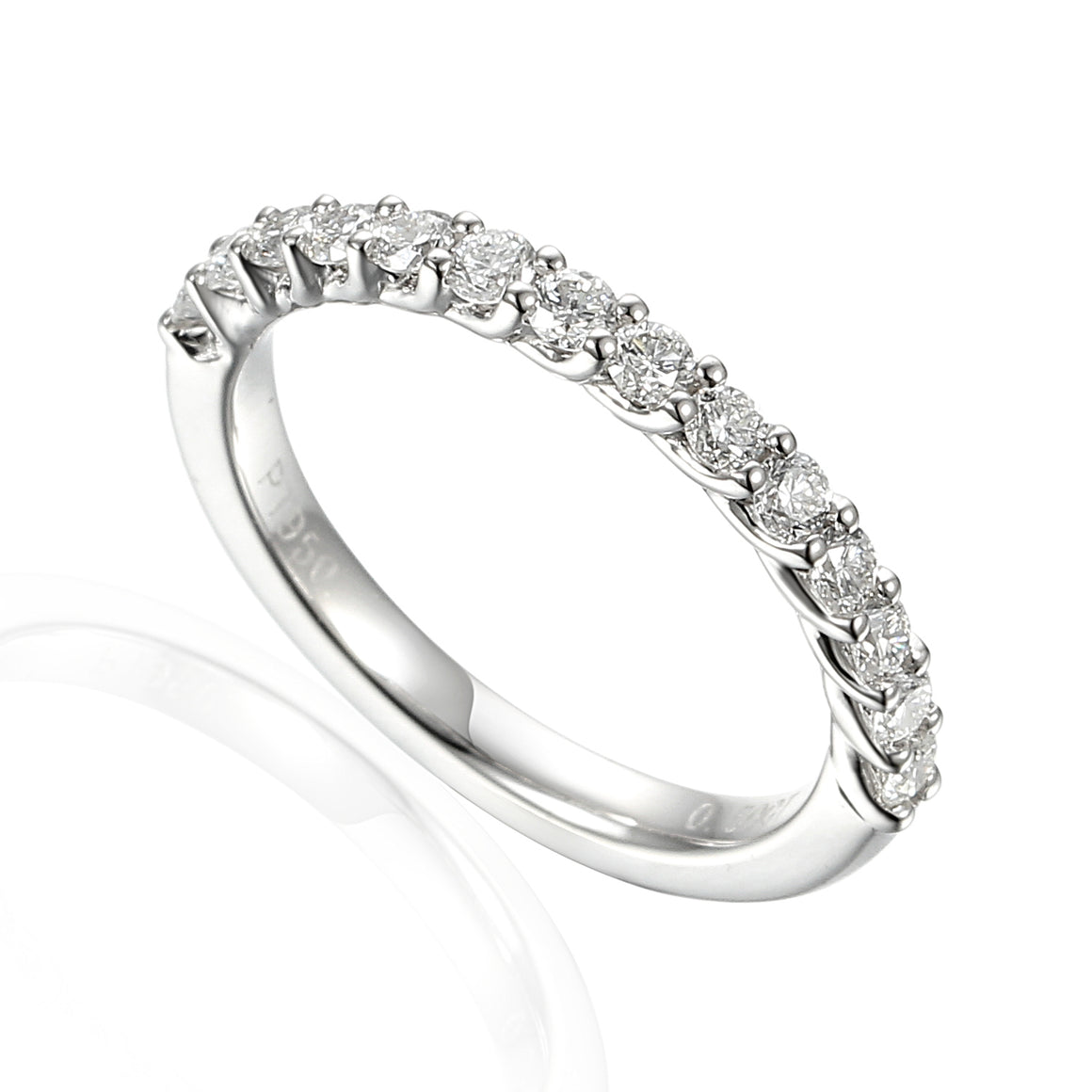 18ct White Gold Half Eternity Claw Set Ring