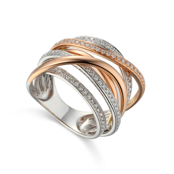 18ct Rose Gold and White Gold Large Diamond set Cocktail Ring