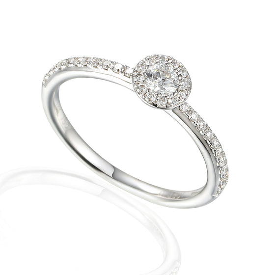 18ct White Gold Small Diamond Cluster Ring with Diamond shoulders