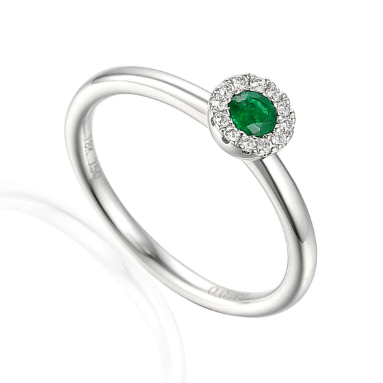 18ct White Gold Emerald Small Cluster Ring