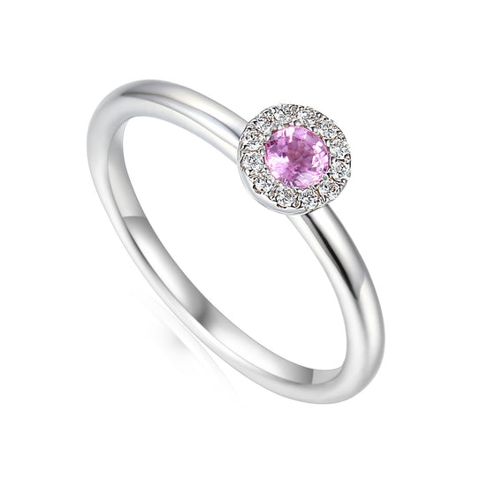 18ct White Gold Pink Sapphire Small Cluster Ring