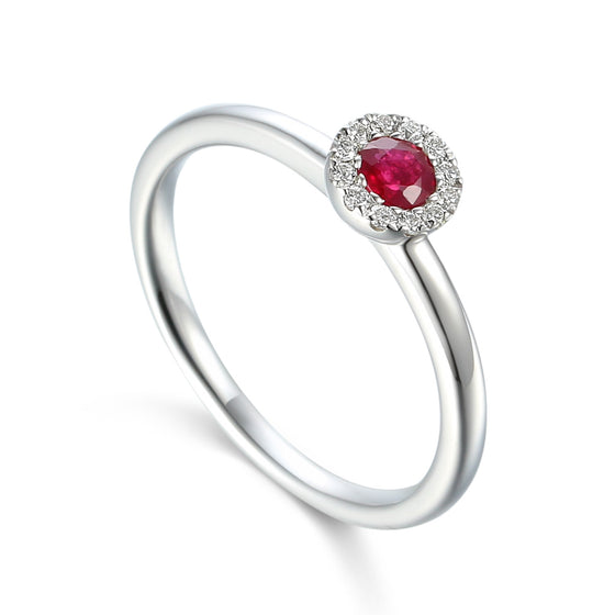 18ct White Gold Ruby Small Cluster Ring