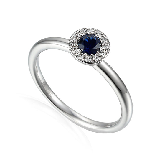 18ct White Gold Sapphire Small Cluster Ring