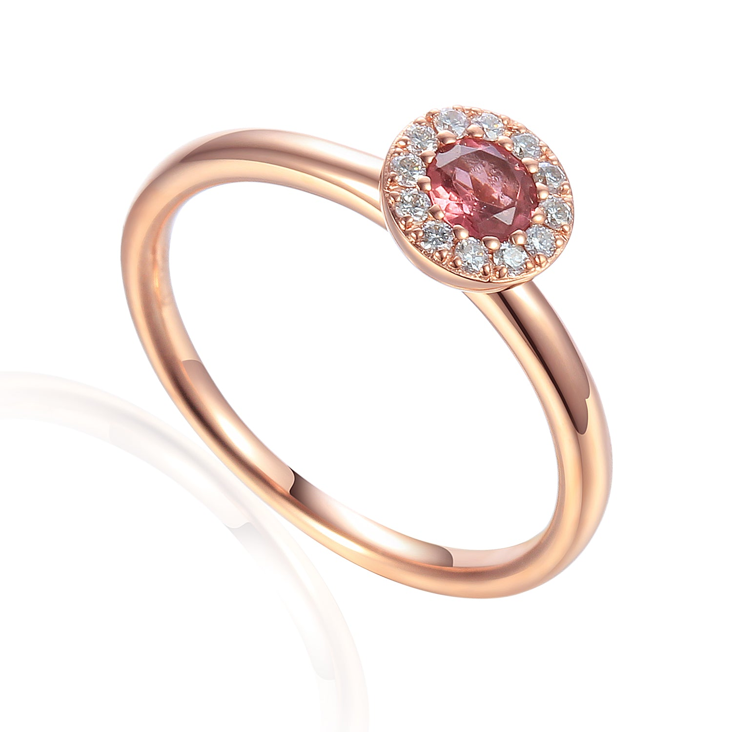 October Birthstone Pink Tourmaline Cluster 9ct Gold Ring