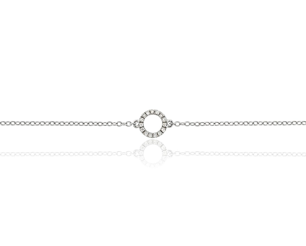 18ct Yellow Gold & Diamond Small Open Circle Geometric Bracelet