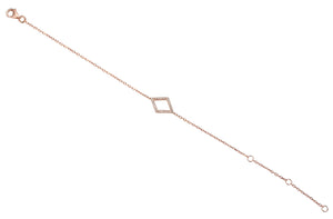 18ct Yellow Gold Diamond Set Diamond Shape Geometric Bracelet