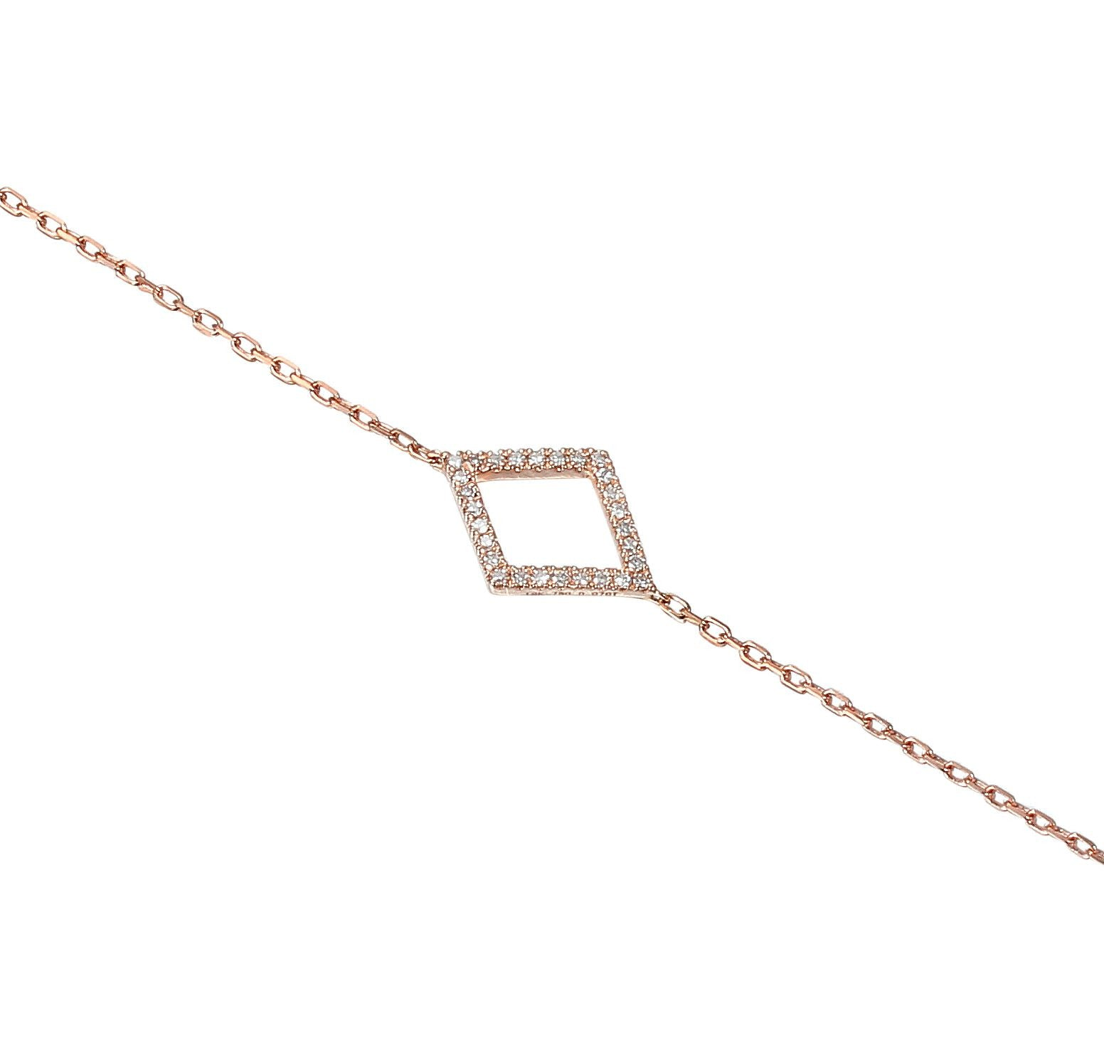 18ct Rose Gold Diamond Set Diamond Geometric Bracelet
