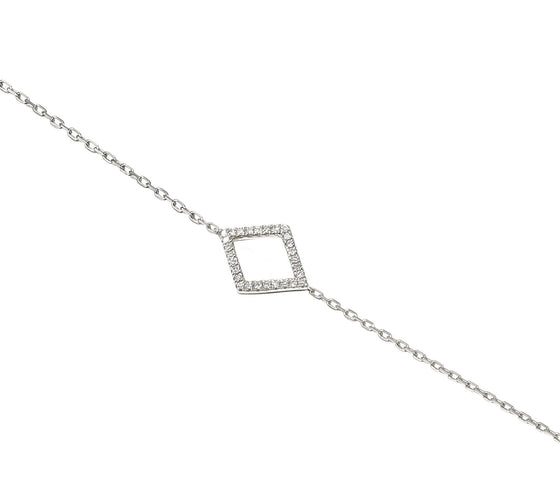 18ct White Gold Diamond Set Diamond Shape Geometric Bracelet