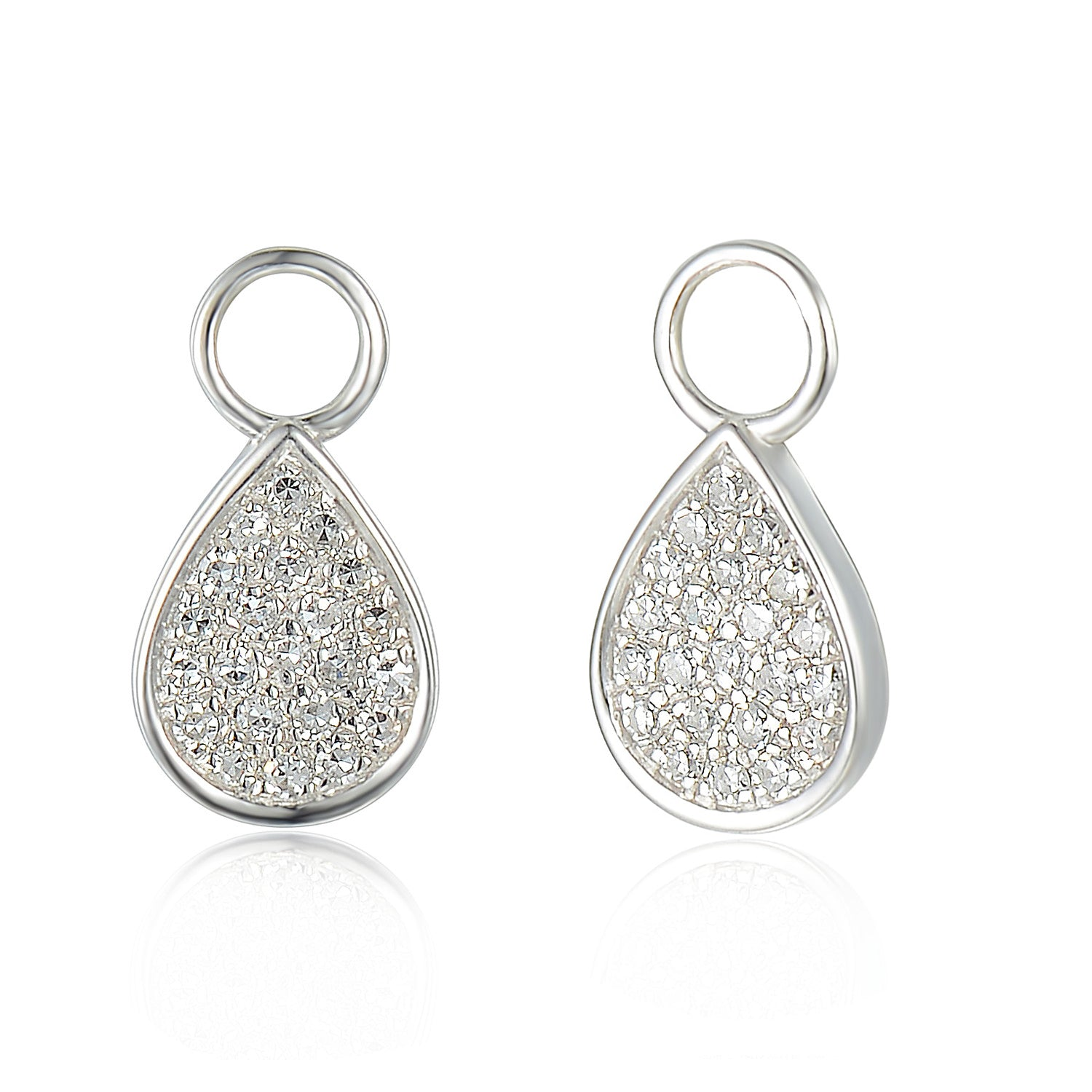 f6bf5f0e3 ... 18ct White Gold Diamond Sleeper Hoop With Hanging Interchangeable Pear  Shape Charm ...