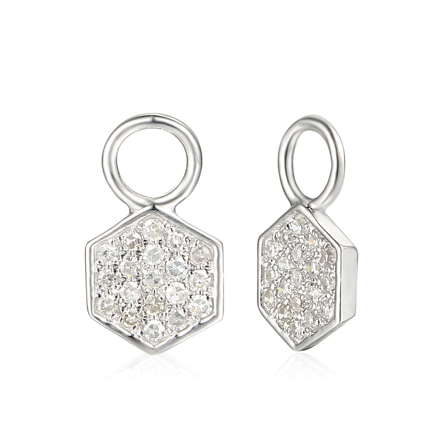 5a579a2be ... 18ct White Gold Diamond Sleeper Hoop With Hanging Interchangeable  Octagon Charm ...