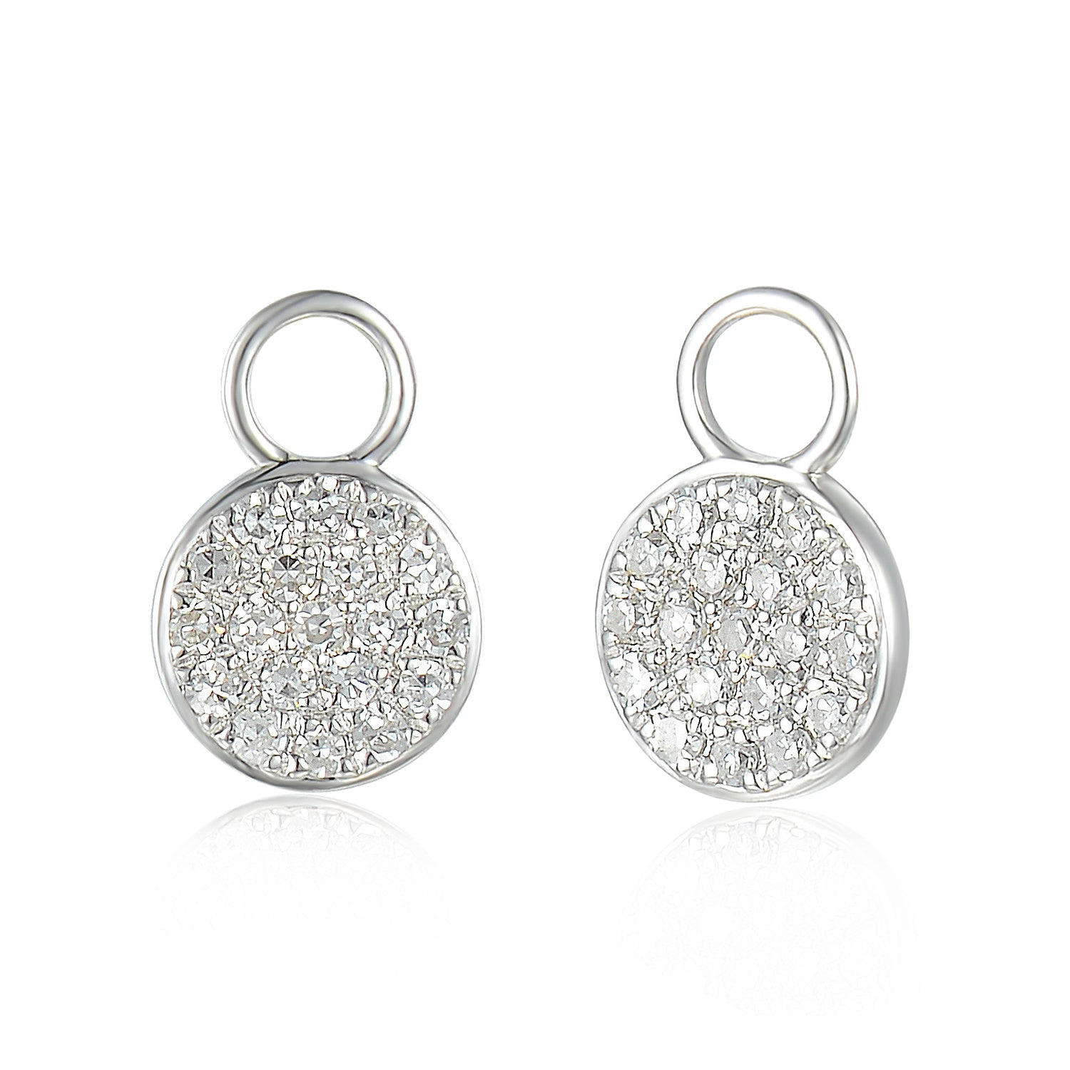 1ce7fe79a ... 18ct White Gold Diamond Sleeper Hoop With Hanging Interchangeable  Circle Charm ...