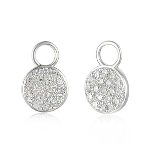 18ct White Gold Diamond Sleeper Hoop With Hanging Interchangeable Circle Charm