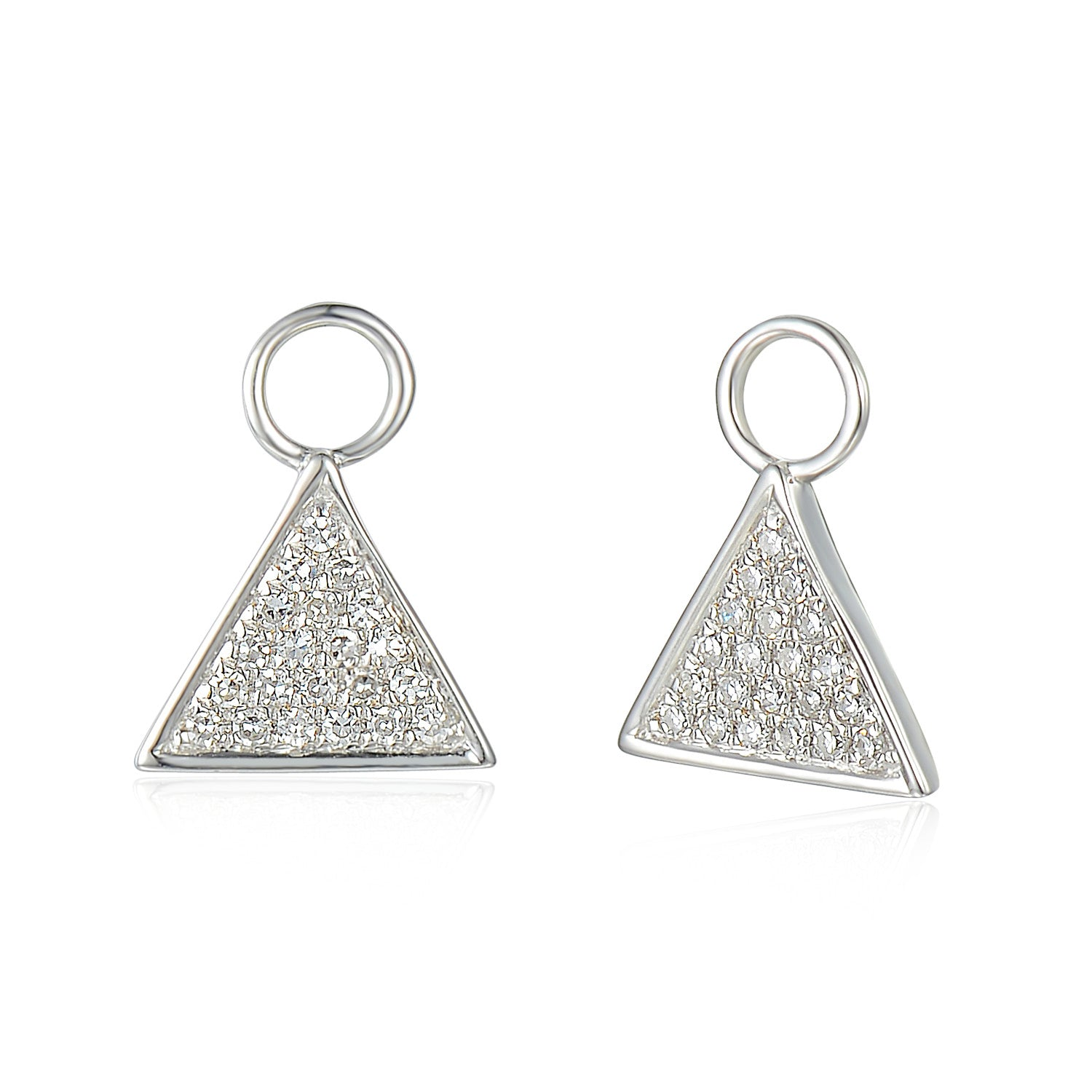 7b3b539a0 ... 18ct White Gold Diamond Sleeper Hoop With Hanging Interchangeable  Triangle Charm ...