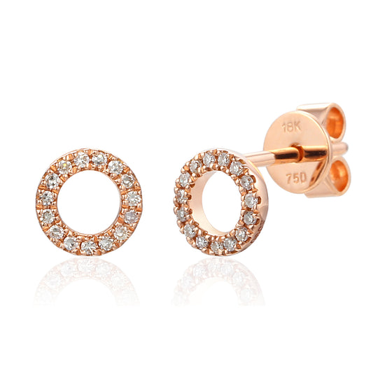 18ct Rose Gold Open Circle Pave Diamond Geometric Stud Earrings