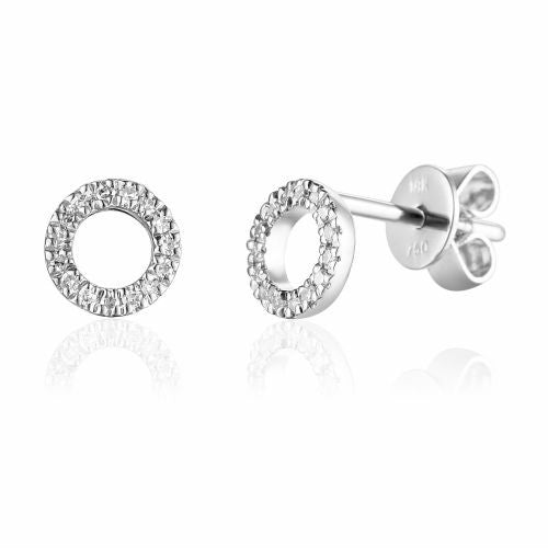 18ct White Gold Open Circle Pave Diamond Stud Geometric  Earrings