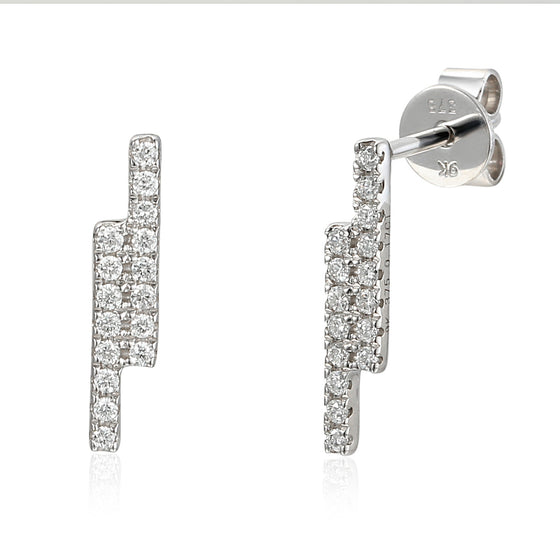 18ct White Gold Linear Double Bar Diamond Set Stud Geometric Earrings