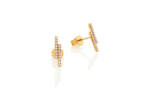 Rose Gold Linear Double Bar Diamond Set Stud Geometric Earrings