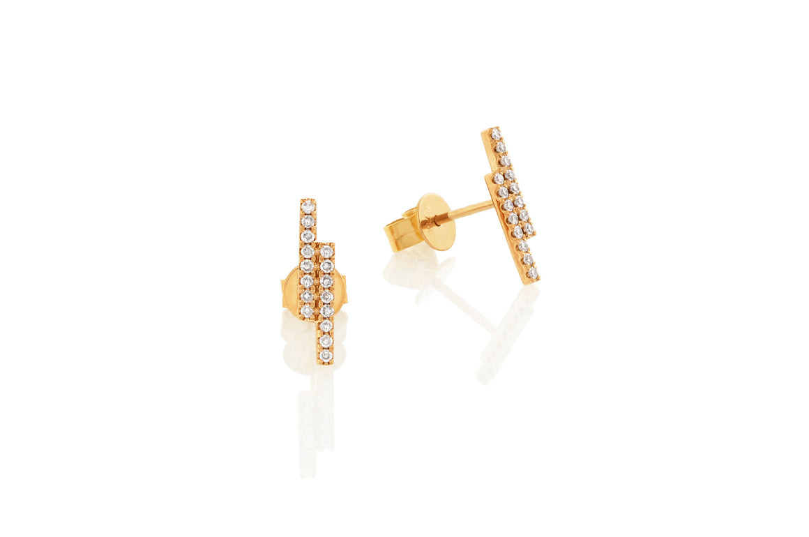 White Gold Linear Double Bar Diamond Set Stud Geometric Earrings
