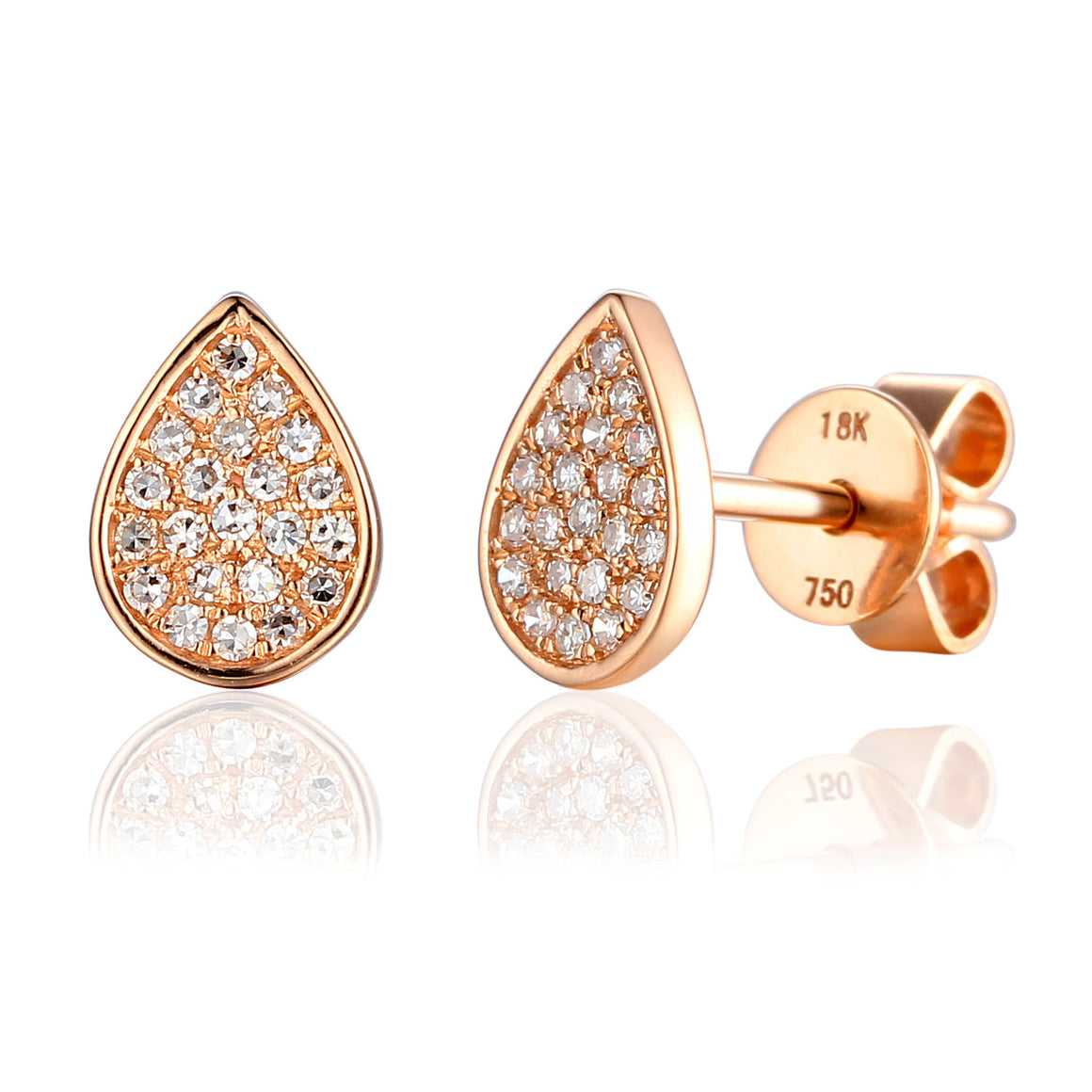 18ct Rose Gold Pave Pear Shape Geometric Stud Earrings