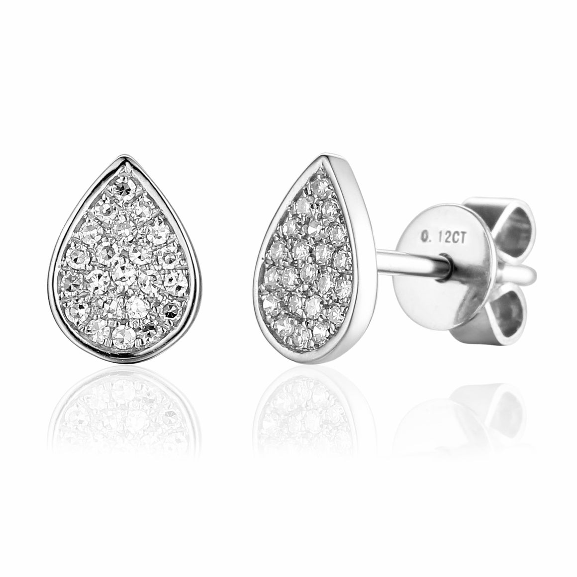 18ct White Gold Pave Pear Shape Geometric Stud Earrings