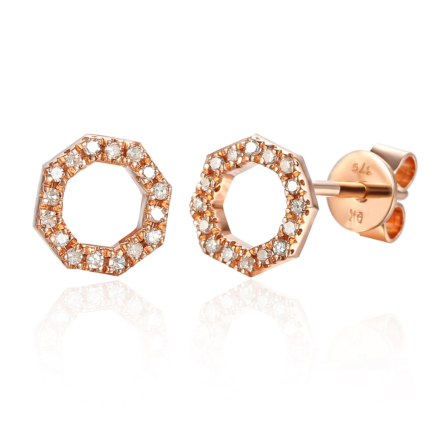 Rose Gold Open Octagon Pave Diamond Stud Geometric Earrings