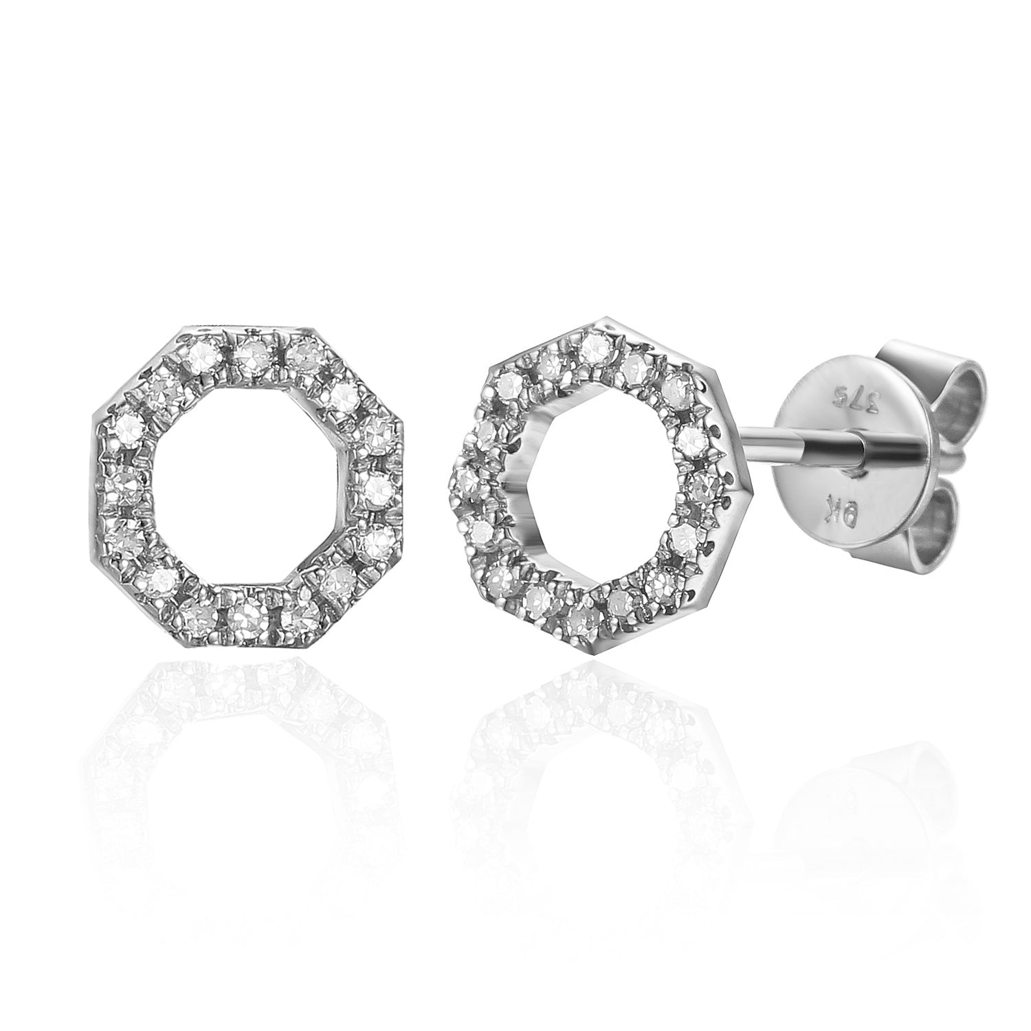 White Gold Open Octagon Pave Diamond Geometric Stud Earrings