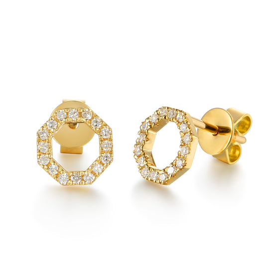 Yellow Gold Open Octagon Pave Diamond Stud Geometric Earrings