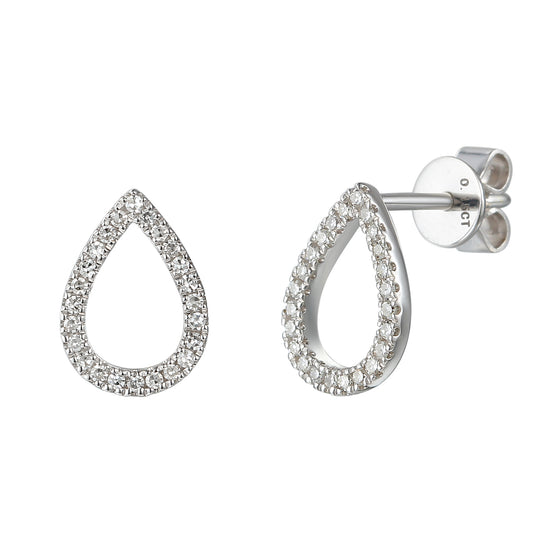 18ct White Gold Open Pear Shape Diamond Set Geometric Stud Earrings