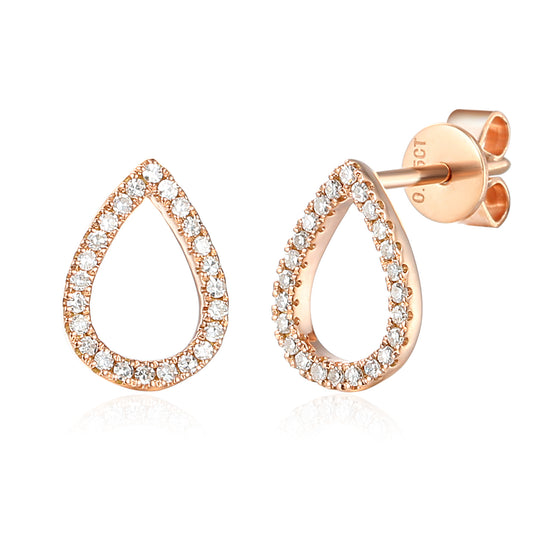 18ct Rose Gold Open Pear Shape Diamond Set Geometric Stud Earrings