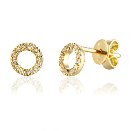 Yellow Gold Open Circle Pave Diamond Geometric Stud Earrings