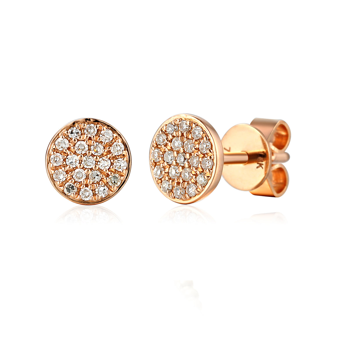 18ct Rose Gold Pave Circle Geometric Stud Earrings